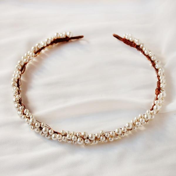 2018 AAA Handmade Simulated Pearls Flower Crown Hair Garland Head Wreath Elegant Stylish Chic Showy Tiara Headband-in Wreaths & Garlands from Home & Garden    1