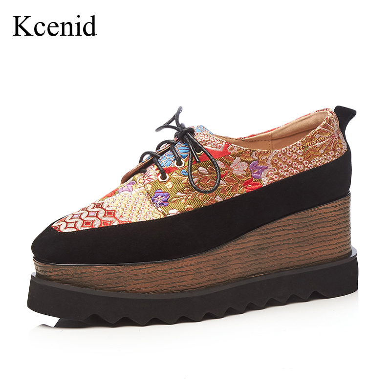 Kcenid 2018 Spring new lace up female platform flats shoes fashion embroidery natural suede casual women shoes large size 33-42 bonjomarisa large size 33 42 women s genuine leather lace up wedges increasing platform shoes woman casual spring flats