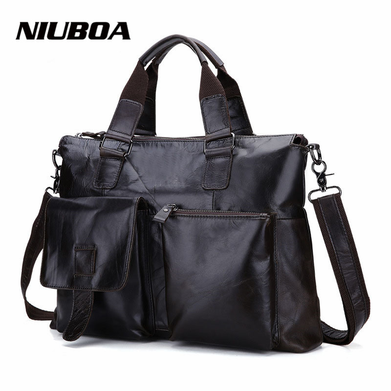 GENUINE LEATHER Cowhide Shoulder Bags Euro Hot Leisure Men's Business Messenger Bag Portable Briefcase Laptop Large 14 Handbag top layer genuine cow leather cowhide shoulder leisure men s bag business messenger portable briefcase laptop casual purse