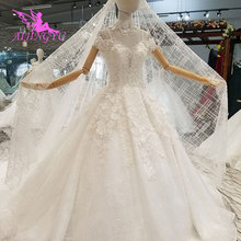 01df6fc17 AIJINGYU فساتين زفاف دانتيل الكرة ثوب بسيط أثواب محلات قطار زائد حجم الأم  من العروس الأبيض