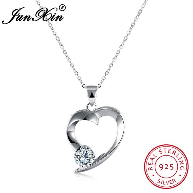 Junxin moda de nova forma do coração das mulheres colares & pingentes do vintage real de 100% 925 sterling silver jóias presentes de ano novo