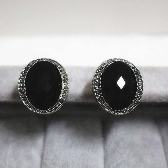 Korea Retro high-end women jewelry Natural semi-precious stone black agate silver stud Earrings Oval exaggerated girlfriend gift