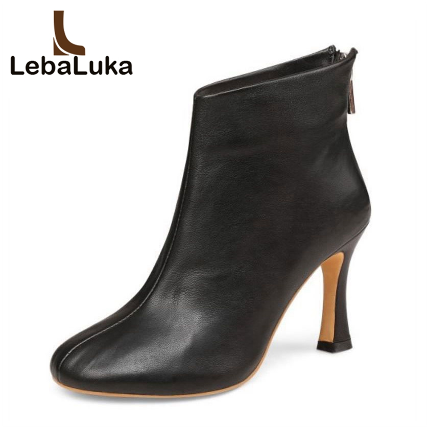 LebaLuka Women Real Leather Ankle Boots Winter Thick High Heels Luxury Designer Shoes Women Zipper Fur Warm Boots Size 34-39LebaLuka Women Real Leather Ankle Boots Winter Thick High Heels Luxury Designer Shoes Women Zipper Fur Warm Boots Size 34-39