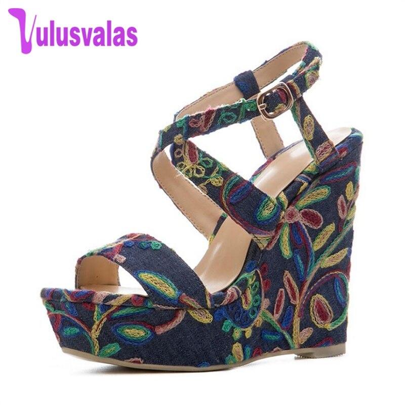 Marca 41 Azul Calza De Zapatos Flores Talones Cuñas Tamaño Sandalias fpwZaYBx
