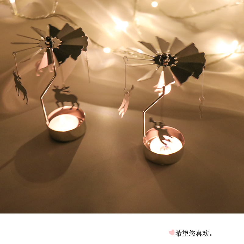 OLOEY Creative Rotate Windmill Candle Holder Angel/Stars/Christmas Tree Rotating Candles Wedding Party Home Decorations