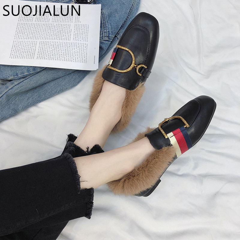 SUOJIALUN 2018 Autumn Winter Women Flats Warm Fur Round Toe Sliop On Loafers Female Ladies Buckle Casual Flats Heel Shoes aphixta loafers women flats heel shoes warm fur winter round toe female ladies casual slip on zapatos de mujer shoes plus size