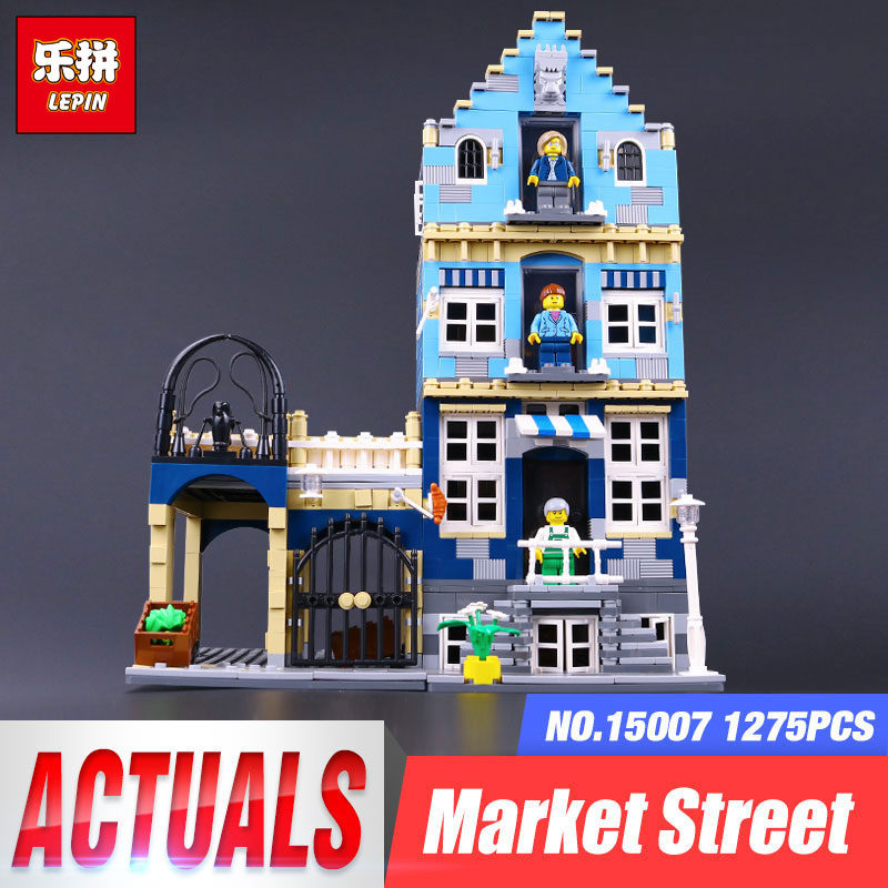 Lepin 15007 City Street European Market Model Building Block Set Bricks Kits  DIY Compatible LegoINGys 10190 Educational Toys loz mini diamond block world famous architecture financial center swfc shangha china city nanoblock model brick educational toys
