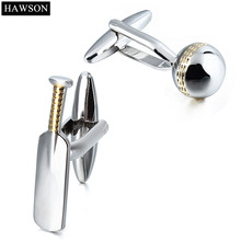 HAWSON High Quality Cricket Cufflinks For Sportsman Polished Mens Metal Cuff links with Free Box