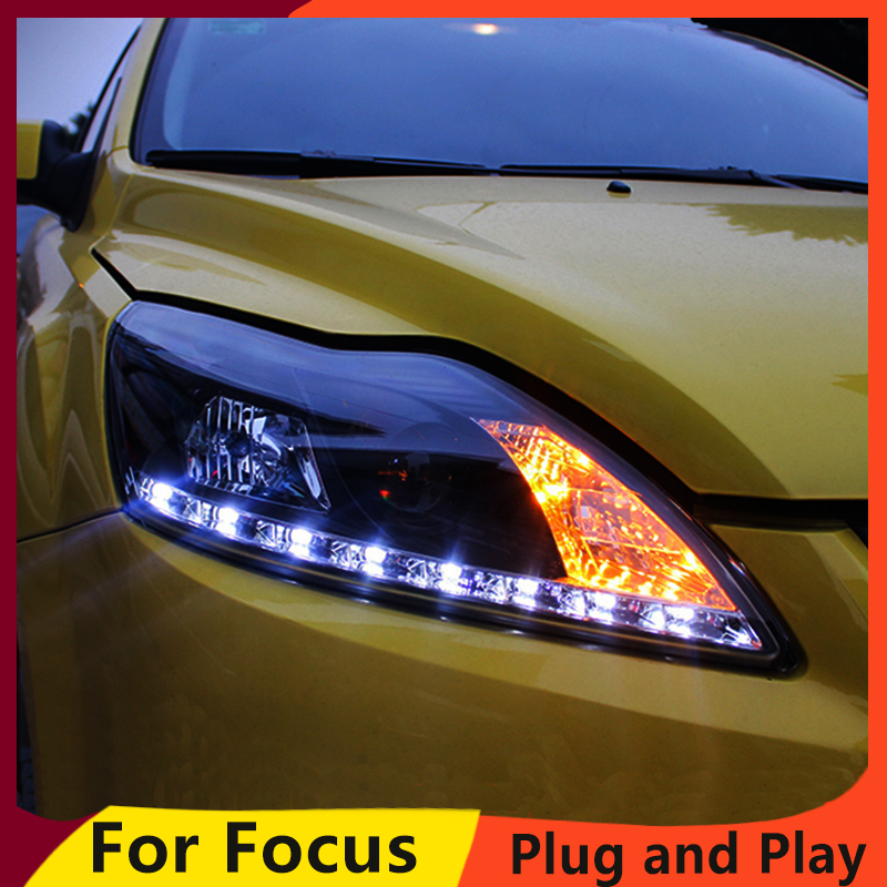 KOWELL Car Styling for Ford Focus Headlights 2009 2013 Focus 2 LED Headlight DRL Bi Xenon