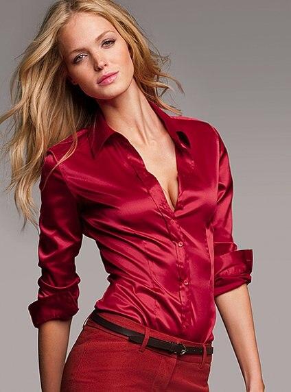 52ecce52cb3c S-XXXl Fashion Red White Black satin silk blouse ladies casual long sleeve  button Turndown