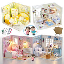Free Dolls Gift ! DIY Miniature Doll House 3D Wooden Furniture Dollhouse Puzzle Wood Toy for Kid Child Christmas (S5