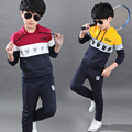 2017 child spring and autumn set  2pcs children's boy clothing teenage  spring sweatshirt twinset 7 8-9-10 sports