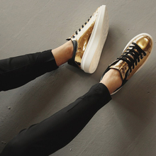 2016 New Products Leather women's Casual Shoes Spring Fashion Lace Up Flat Gold Silver Leisure Shoes
