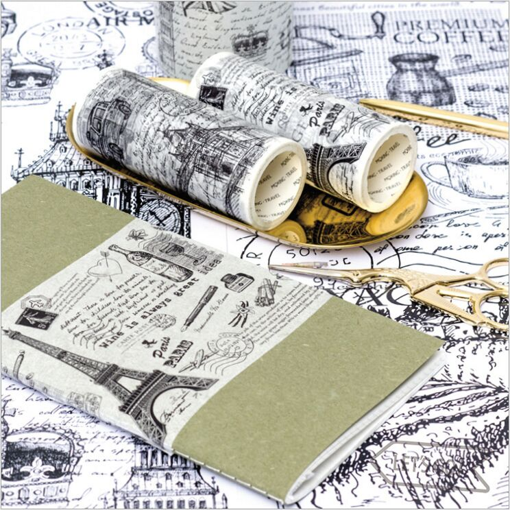Retro Memories Of Travelling Europe City Buildings Sculpture Black White Washi Tape DIY Decorate Planner Scrapbook Masking Tape