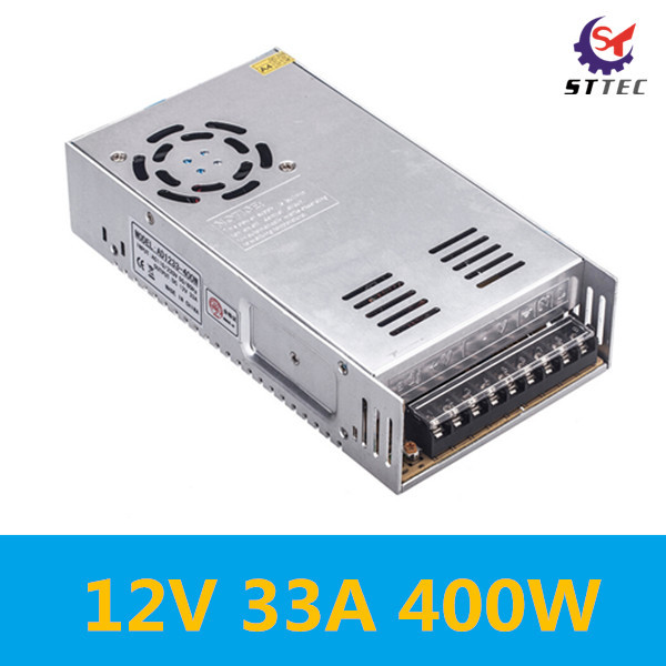 Free shipping High quality 400W switch power supply 12V 33A 400W switch converter, AC 110-220V to DC 12V power supply inverter 220v to 12v 400w 33a switching power supply dc power adapter monitor power supply