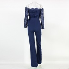 YISSANG  Women Lace Jumpsuit Fashionable Ladies Long Sleeve Solid Sexy Romper Latest Design Off Shoulder Long Playsuits Feminino
