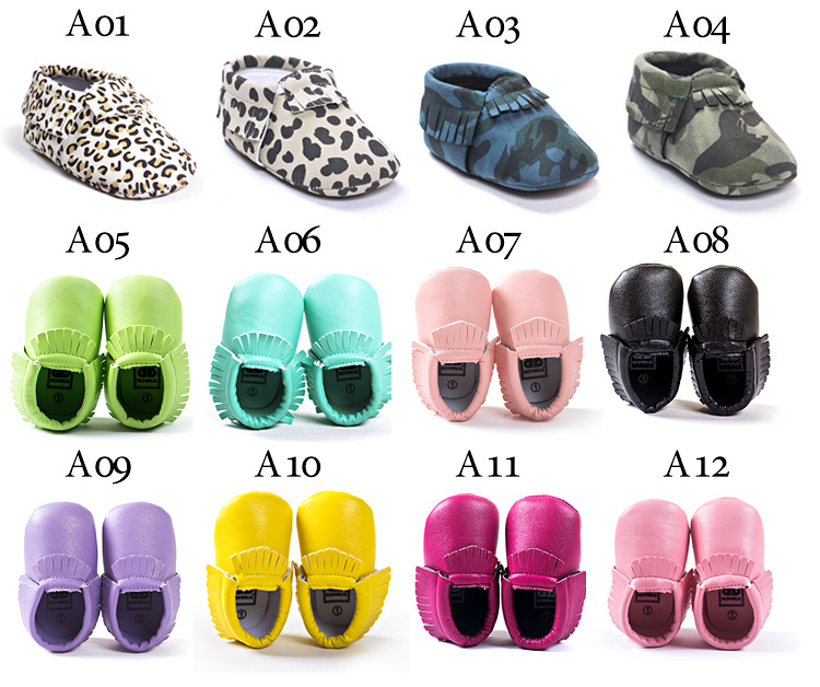 2019 New Hot Baby Boys Girls Multi-color PU Leather Soft Sole Moccasins Shoes First Walker Shoes For Party