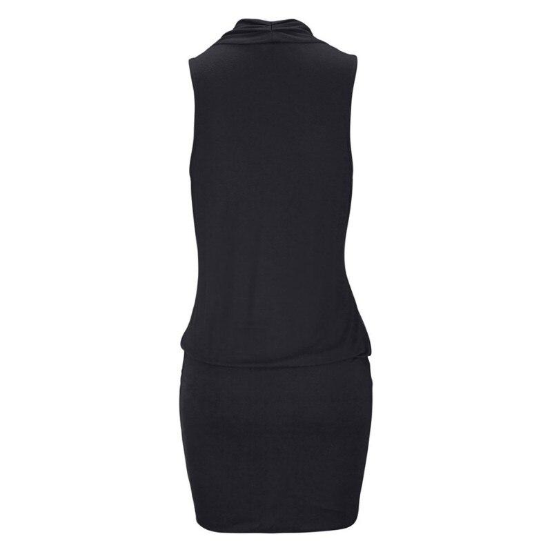 Women Clothes Women Sexy Deep V-neck Sleeveless Mini Dress Summer Beach Dress with Belt 6