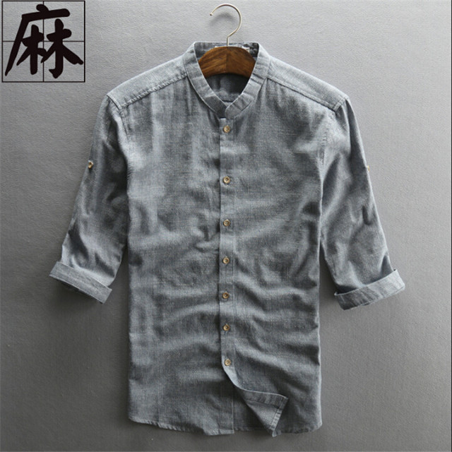 6d2b97571537 M-4Xl Plus Size Man Vintage Shirt Linen Casual Three Quarter Sleeve Shirts  Striped Summer Men'S Clothing Wt1007