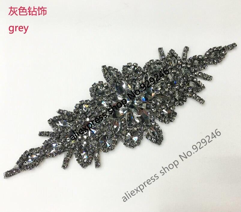 1pc lot fashion grey glass crystal rhinestone applique hotfix strass motif for women coat dress waist