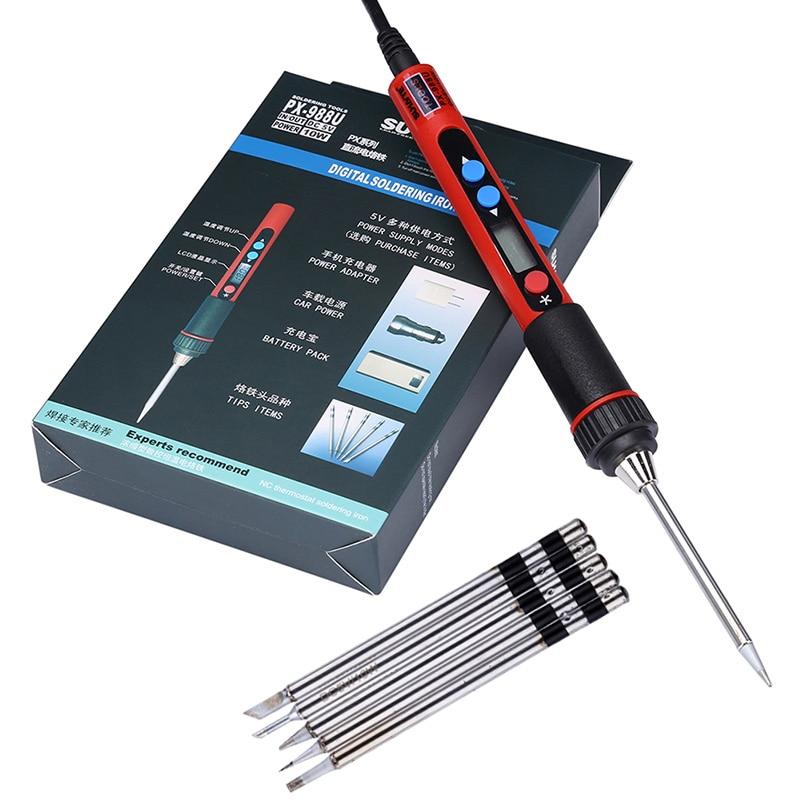 50~480℃ Adjustable Temperature USB Soldering Iron Soldeerbout 5V 10W Digital Screen Welding Solder Iron For BGA Welding Tools