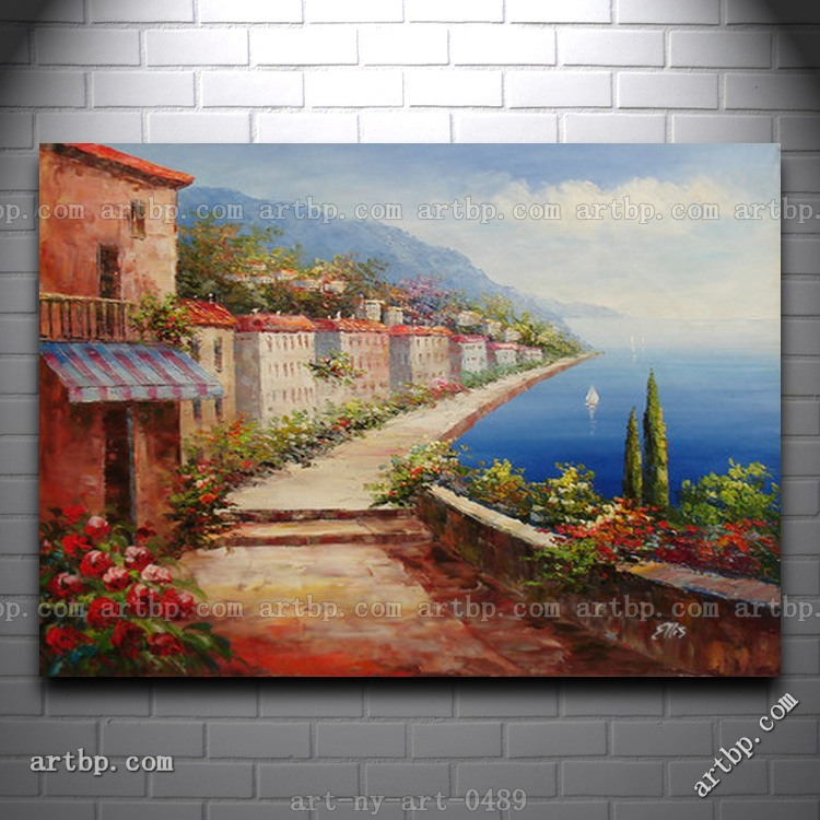 Oil Painting Of Road Along Houses By Sea Tuscan Scene On