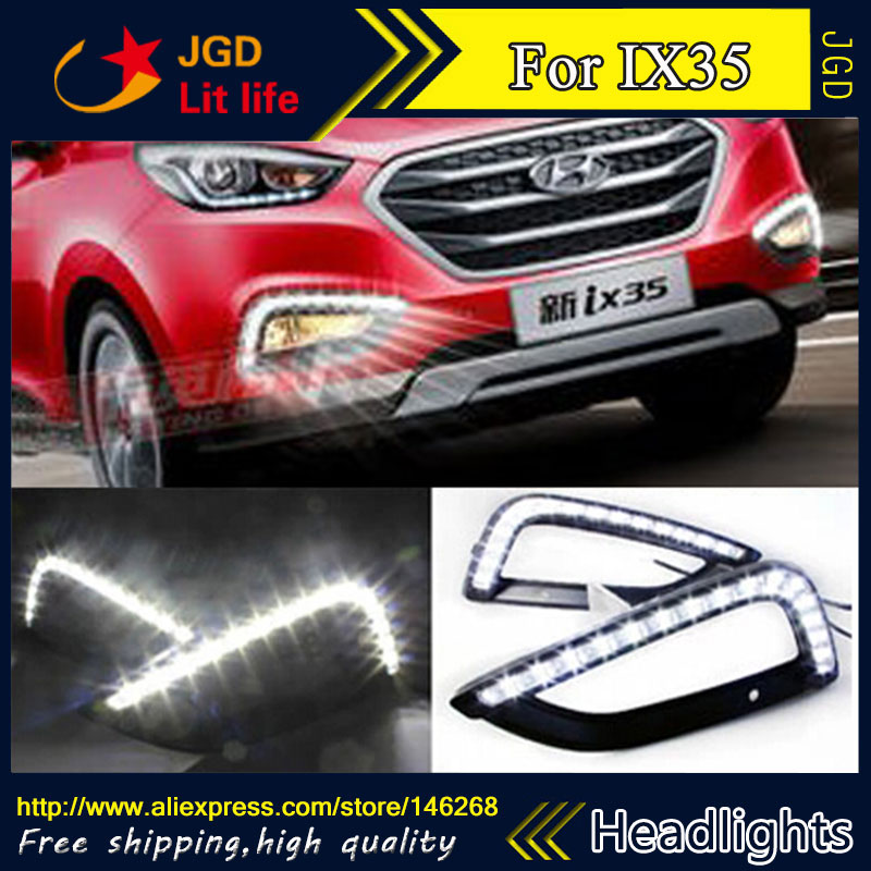 Free shipping ! 12V 6000k LED DRL Daytime running light for Hyundai IX35 2013-2015 fog lamp frame Fog light Car styling