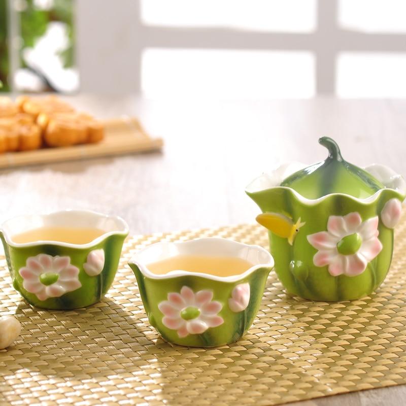 Esmalte de color Porcelain Tureen Juego de té Kungfu Kungfu Easy - Cocina, comedor y bar - foto 2