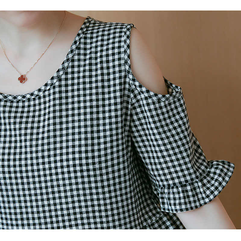 Vogorsean летние Для женщин блузка плюс Туника Модная рубашка Блузки черный, белый цвет клетчатая свободная, с коротким рукавом Топ женский Костюмы