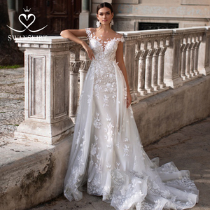 Image 1 - Wedding Dress 2 In 1 Mermaid Detachable Train Appliques Sweetheart Bridal Gown Princess Swanskirt K149 Vestido de novia