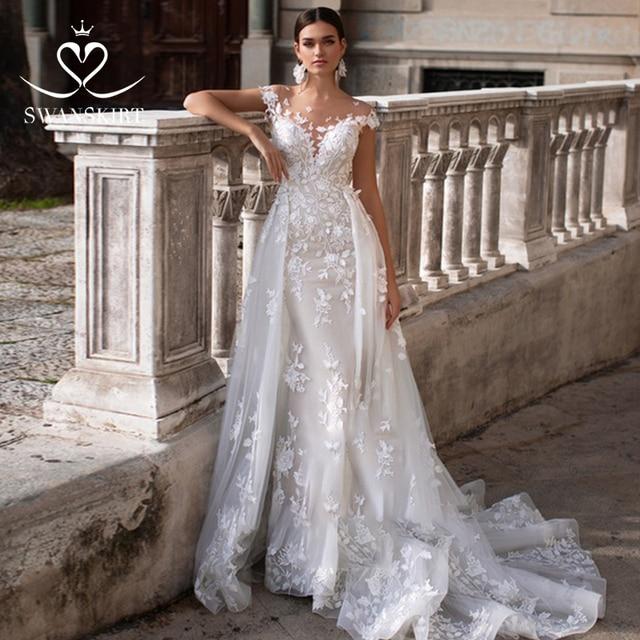 Wedding Dress 2 In 1 Mermaid Detachable Train Appliques Sweetheart Bridal Gown Princess Swanskirt K149 Vestido de novia