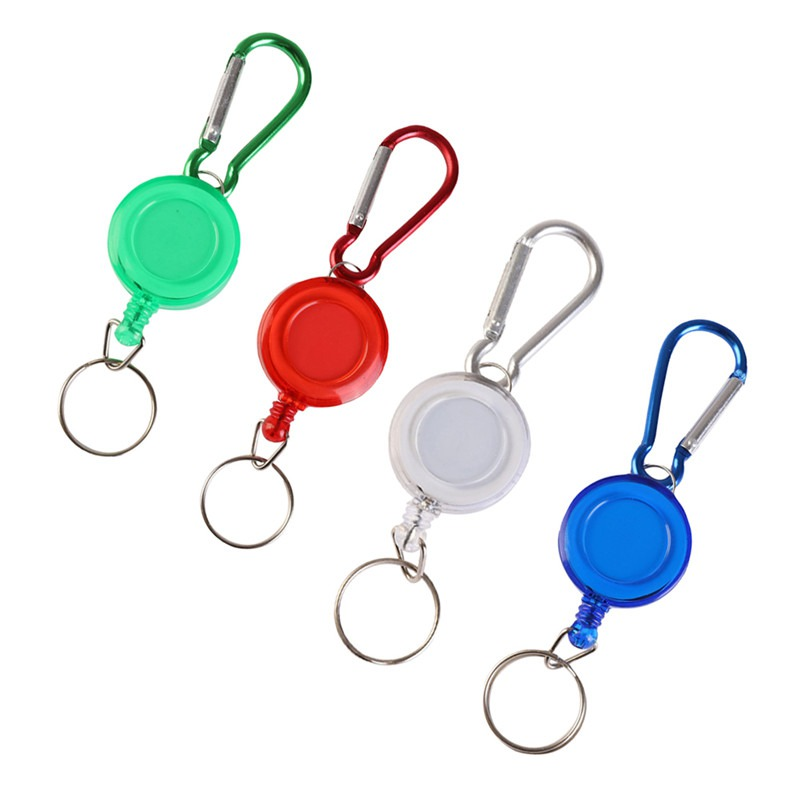 Portable Fly Fishing Rope Tape Measure Tool Retractor Keychain Retractable Reel Badge Holder Fly Fishing Carabiner Clip