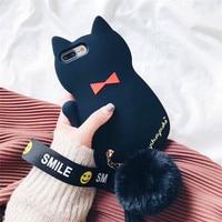 Stereo Siyah Kedi Telefon Kılıfı Için iPhone 7 Artı anti-güz yumuşak kabuk topu bilezik gelgit Yumuşak Telefon Kapak iphone 7 Artı