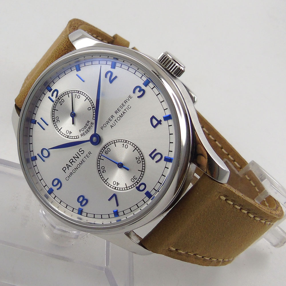43mm parnis silver White dial Leather Power Reserve Chronograph Blue Marks SS Case Seagull 2542 Automatic Mechanical men's Watch hot sale 46mm parnis black dial power reserve white marks automatic men wrist watch