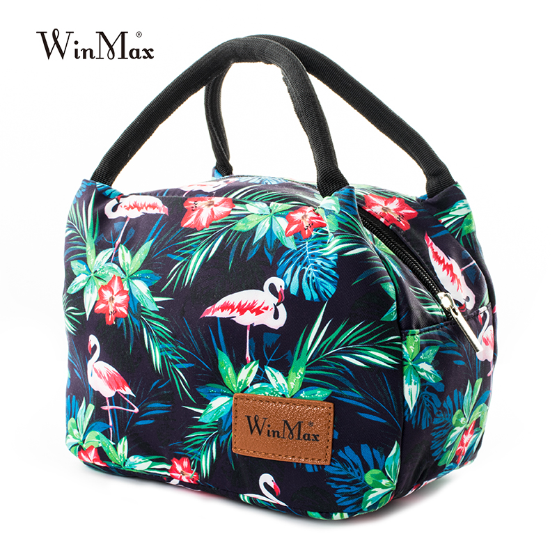 Winmax New Design Floral Lunch Handbags Thermal Food Picnic Lunch Bags for Women Men Adults Kids Toddler Nurses Flowers Painting