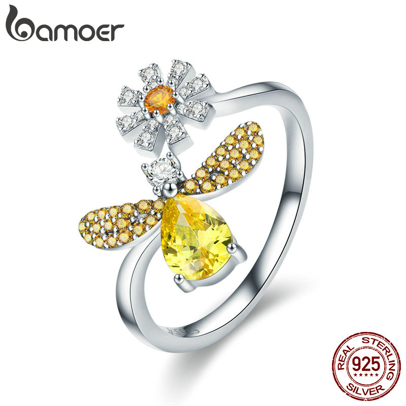 Nice Bisaer Anel 100% 925 Sterling Silver Femme Ladybug In Daisy Flower Garden Finger Rings For Women Silver Ring Jewelry Gxr284 Jewelry & Accessories