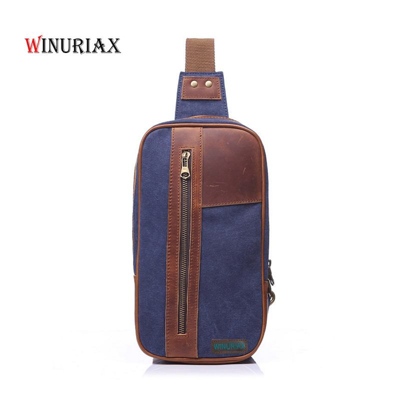 WINURIAX Men chest bag Casual Canvas Men crossbody Messenger bags Waterproof Single Shoulder Strap Pack 2018 New Fashion aerlis men small canvas leather messenger shoulder backpack travel military single strap sling bag satchel chest pack bags 1097