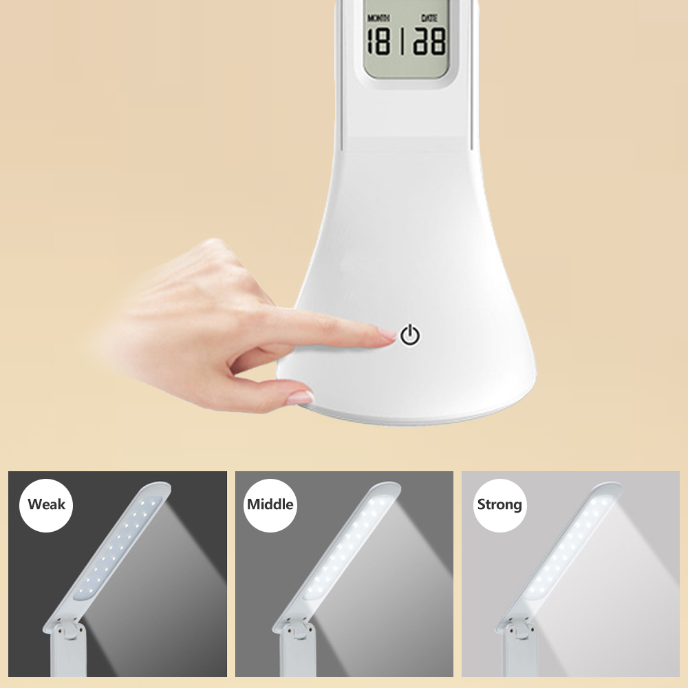 LED Desk Lamp Foldable Dimmable Touch Table Lamp with Calendar Temperature Alarm Clock table Light night lights LAOPAO 4