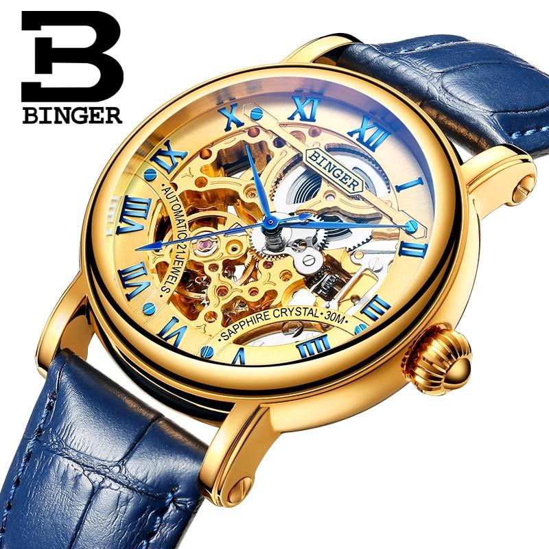 Switzerland luxury men's watche BINGER brand Hollow Out Mechanical  Wristwatches sapphire full stainless steel B-5066M-5 rga r 981 sports watche red