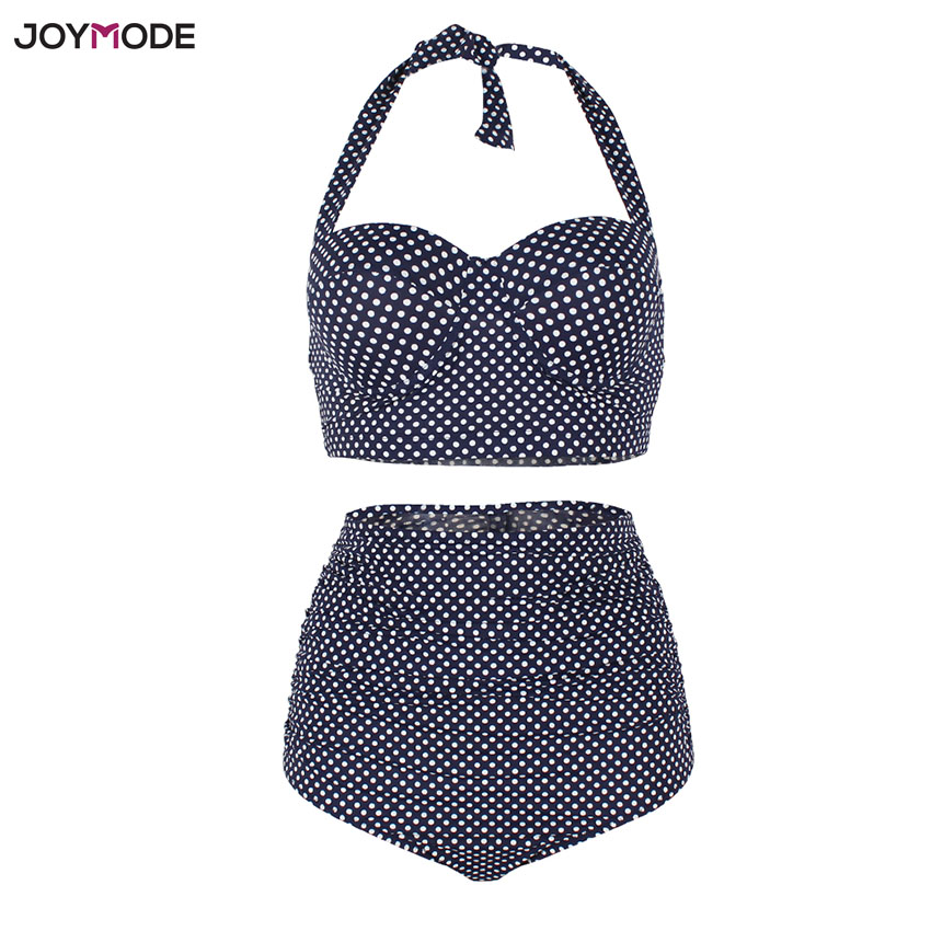 JOYMODE High Waist Bikini Women Polka Dot Plus Size Swimwear Two Pieces Swimsuit Retro Halter Bath Badpak Mujer Cintura Alta