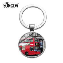 SONGDA London Double Decker Bus Travel Cute Keychain Novelty Red Bus Old London Cartoon Printing Glass Dome Keyring Chain Holder(China)