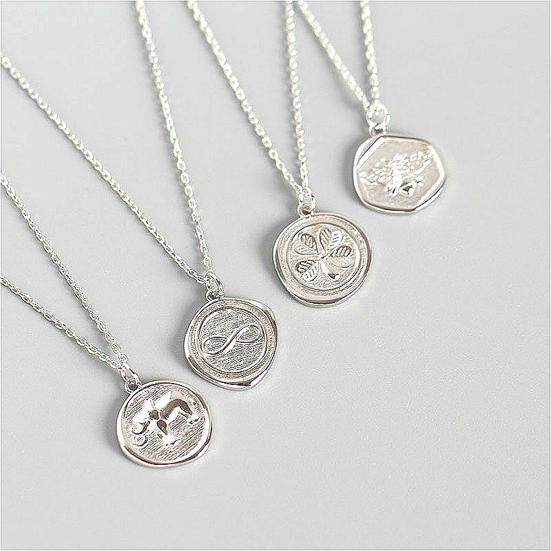 Fengxiaoling 100% 925 Sterling Silver Necklaces & Pendants For Women Simple Bee/elephant/flower Statement Necklace