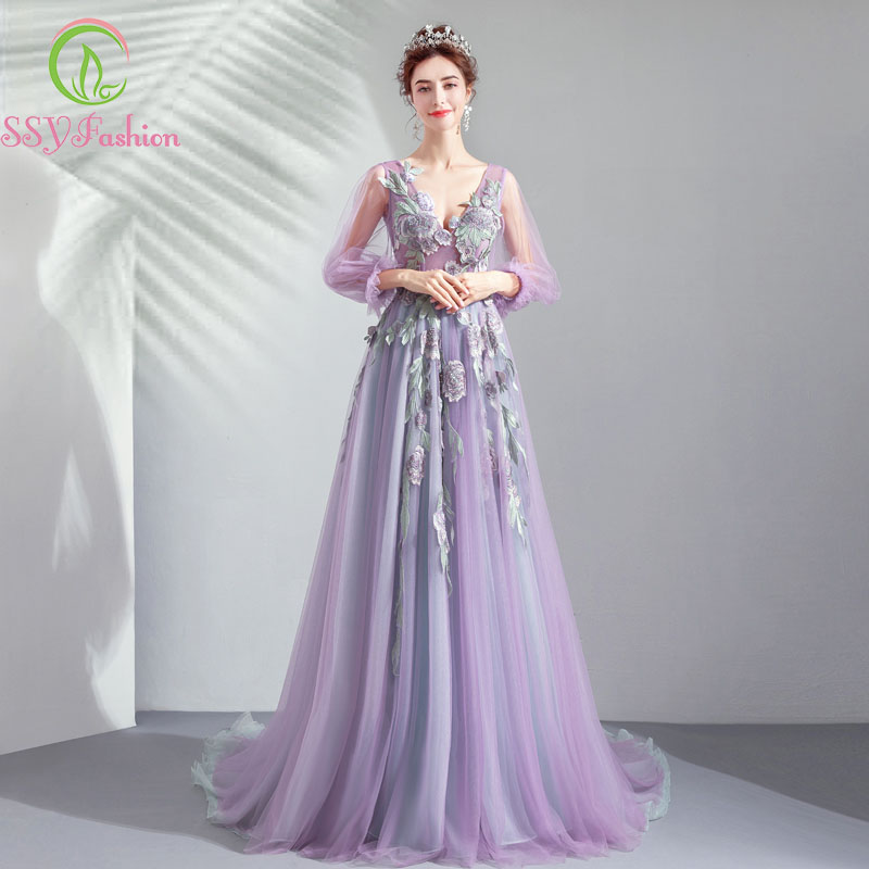 SSYFashion 2019 New Banquet Elegant Purple Long   Evening     Dress   V-neck 3/4 Sleeve Lace Embroidery Sweep Train Party Formal Gowns