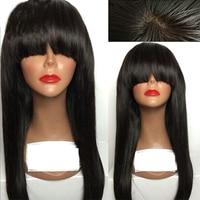 LUFFYHAIR шелк база парики с челкой прямые 5 * 4,5 Шелковый топ кружева передние человеческие волосы парики предварительно сорвал бразильские па