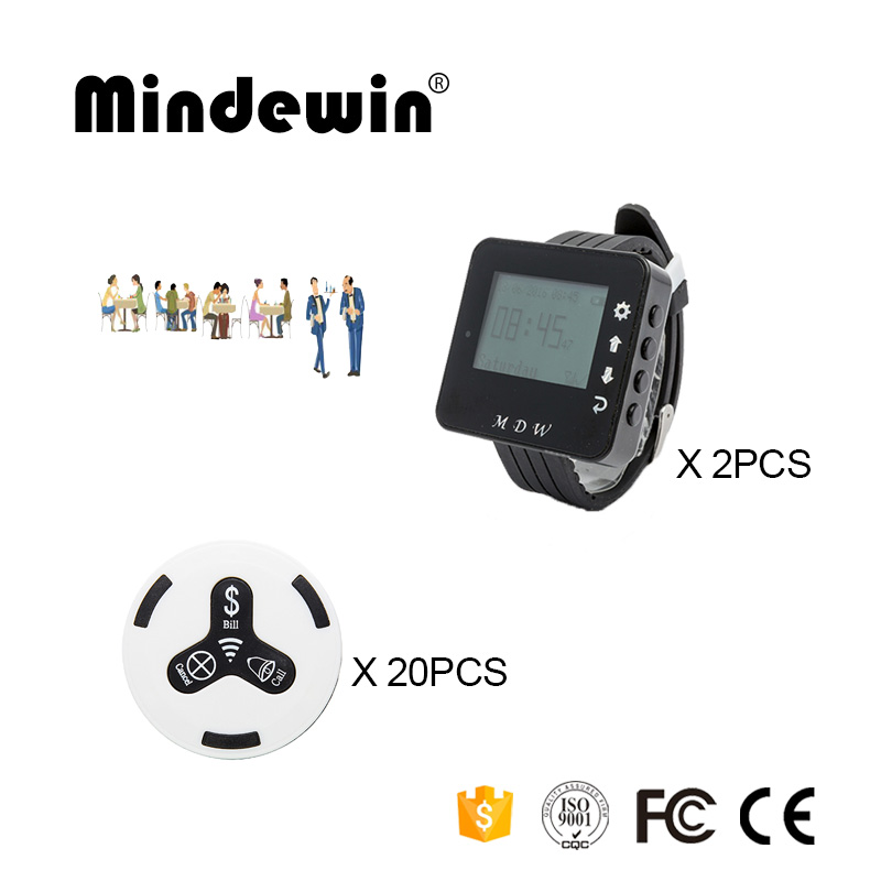 Mindewin Restaurant Service Waiter Calling Bell 2PCS Watch Pager M-W-1 and 20PCS Table Call Bells M-K-3 Wireless Buzzer System