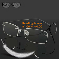 Rimelss Stainless Steel Flexible Eyeglasses Prescription Spectacles Presbyopic Hyperopia Far Sighted Reading Glasses Strength