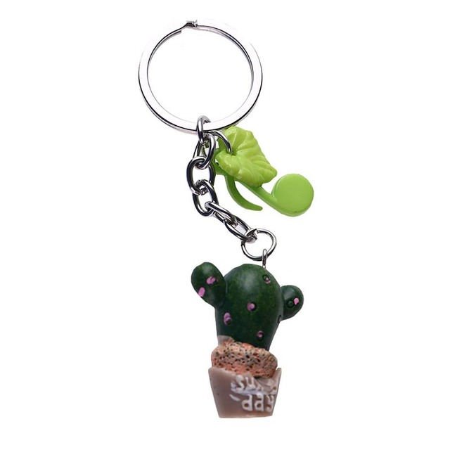 1pc Color random Simulation plant keychain Cute Resin Cactus keyring Green plant pendant Cell Phone Charm Bag Strap Decor