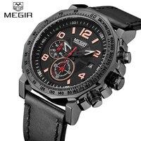 2017 nowa luksusowa marka Megir mężczyzna sporta zegarek skórzany pasek mężczyzna zegar zegarek kwarcowy wojskowy zegarek na rękę Relogio Masculino w Zegarki kwarcowe od Zegarki na