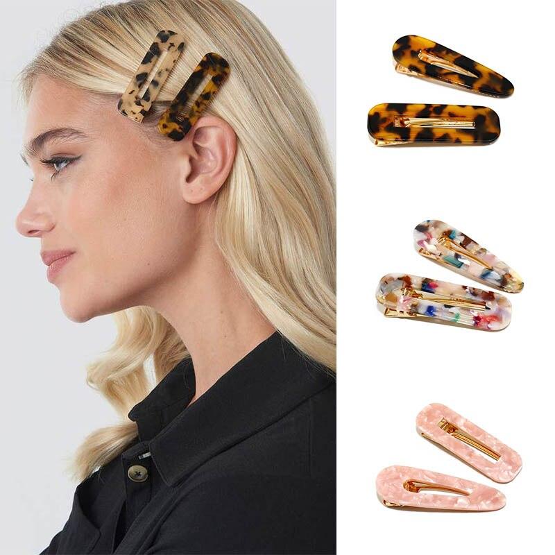 Acrylic Waterdrop Geometric Hairpins Barrette Headband Children Girls Hair Accessories Hollow Rectangle Big Hair Clips For Women