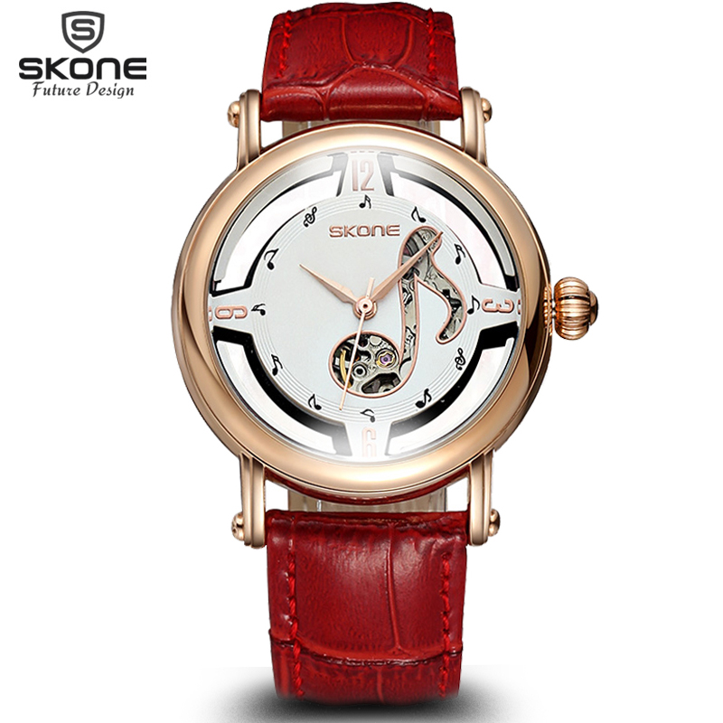 ФОТО SKONE Female Notes Rose Gold Automatic Self-Wind Mechanical Watches Women Genuine Leather Strap Skeleton Watch Fashion Ladies
